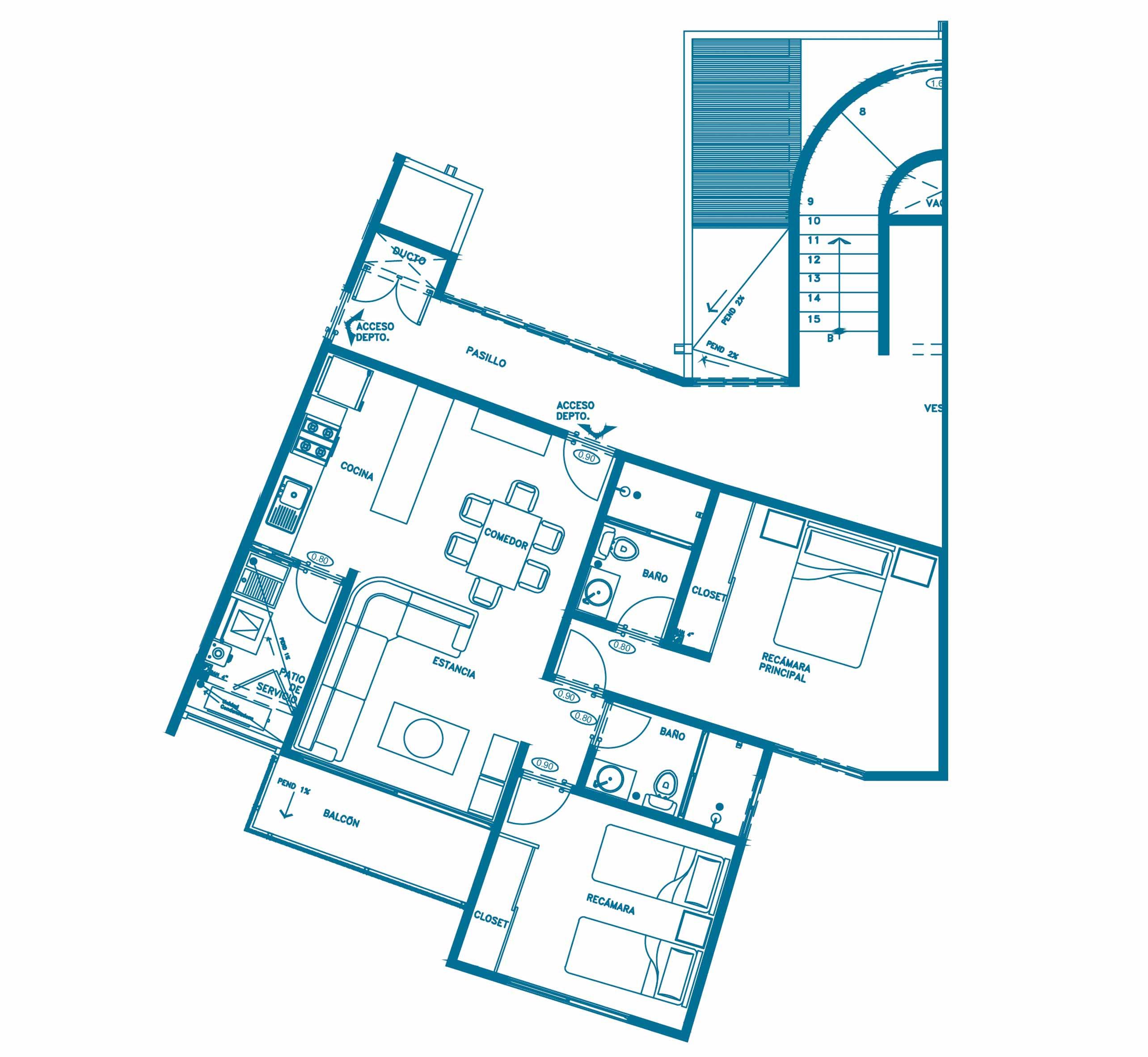 planos Departamentos Modelo Aqua - Índigo