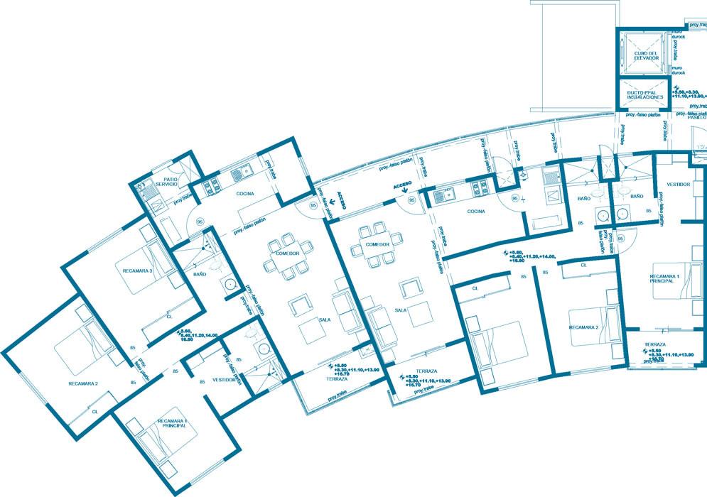 planos Departamentos Modelo Turquesa - Marino